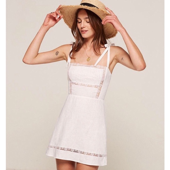 47eed66798 Reformation Domingo Dress White Linen Lace w Bows